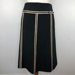 Ann Taylor Black Tan Ribbon Trim A-Line Skirt 8